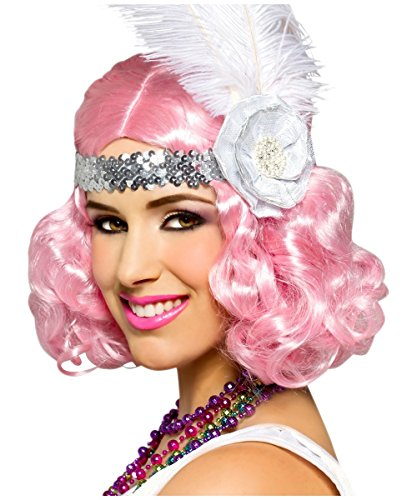 Icy Pink Party Flapper Curly Short Hair Adult Womens Costume Wig (Adult Short Pink Wig)