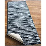"""NEW 20"""" X 120"""" Blue Colored Striped Extra Long Nonslip Floor Runner Rug *Made in Usa*"""