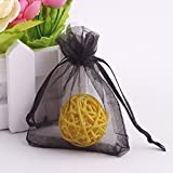 Wuligirl 100 PCS Black Organza Gift Bags with