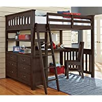 NE Kids Highlands Full Loft Bed with Desk and Shelf in Espresso