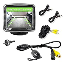 """Pyle Backup Car Camera Rearview Monitor System - Parking and Reverse Assist w/ Waterproof and Night Vision Abilities, 3.5"""" Monitor Display Screen, Wide Angle Lens & Distance Scale Lines - (PLCM32)"""