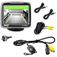 Pyle Backup Car Camera  Rearview Monitor System - Parking and Reverse Assist w/ Waterproof and Night Vision Abilities, 3.5 Monitor Display Screen, Wide Angle Lens & Distance Scale Lines - (PLCM32)