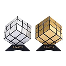 D-FantiX Shengshou Mirror Cube 3x3 Speed Cube Puzzle Silver Golden Pack of 2