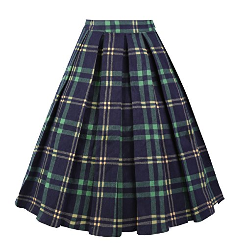 Plus Size Plaid Skirt (Girstunm Women's Pleated Vintage Skirt Floral Print A-Line Midi Skirts With Pockets Green-Plaid XXX-Large)