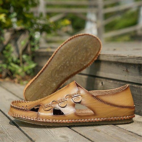 Ocasionales Zapatillas 2018 Suaves Transpirables Genuino Playa y los Deporte Planas Zapatillas Sandalias Hombres de Cuero de Sutura Sandalias de Khaki Planas Antideslizante de qqvOpx