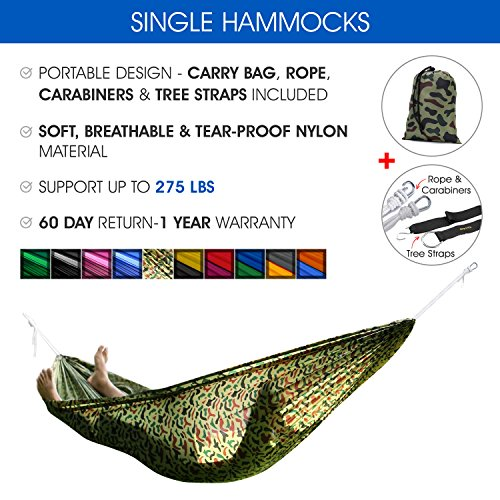 Yes4All VDJJ Ultra Light Hammocks with Tree Strap, Camouflage