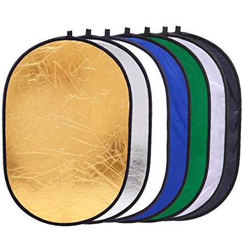 35 x 47 inch (90x120cm) Photography Oval Reflector Collapsible Photo Video 7 in 1 Light Reflectors Disc with Translucent, White, Blue, Green, Gold, Silver, and Black by Konseen