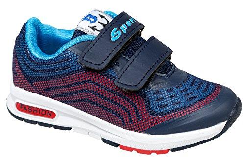 gibra - Zapatillas de sintético/textil para niño Azul - azul oscuro/rojo