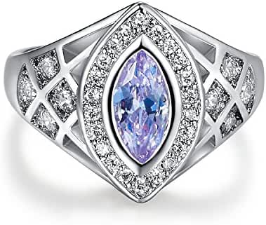 Psiroy 925 Sterling Silver Plated Delicate Marquise Cut Tourmaline Filled Ring for Women