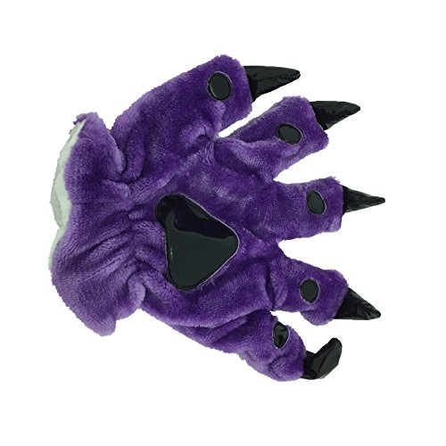 Costume Bunny Gloves (Animal Paw Calw Plush Funny Halloween Costume Hand Gloves Purple)
