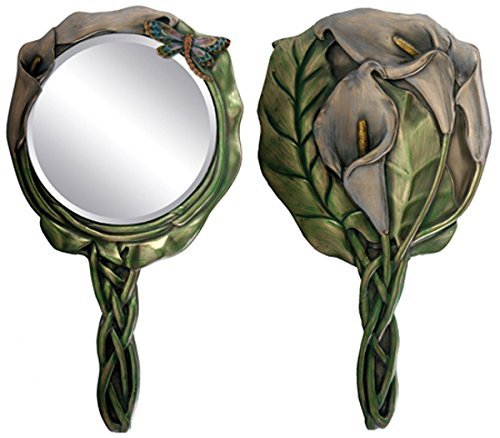 (Ebros Gift Beautiful Calla Lily Dragonfly Bronzed Patina Resin Hand Mirror Vanity Accesory)