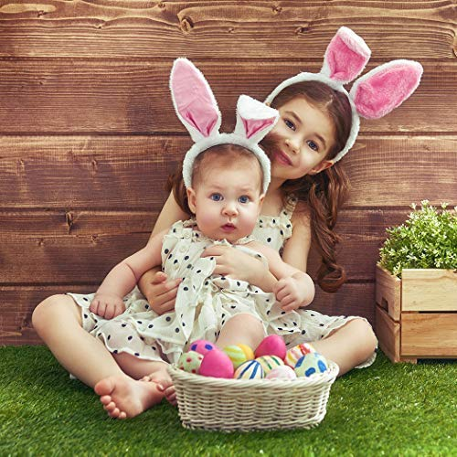 Allenjoy 7x5ft Fabric Spring Easter Backdrops for Girls Photography Wrinkle Free Happy Bunny Rabbit Green Grass Brown Wooden Wall Baby Shower Kids Newborn Portrait Background Photo Studio Shooting by Allenjoy (Image #6)