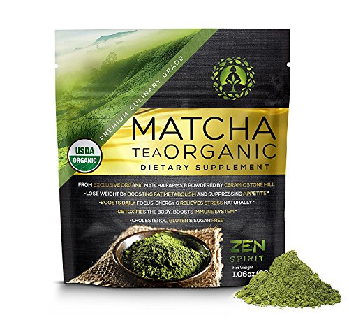 Organic Matcha Green Tea Powder, Premium Culinary Grade from Japan, Unsweetened & Sugar Free - USDA & Vegan Certified - 30g (1.06 oz) - Perfect for Baking, Smoothies, Latte, Iced tea & Weight Loss.