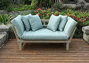 Cambridge-Casual 460109BLU West Lake Convertible Sofa Daybed, Weathered Grey With Spruce Blue
