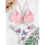 ZAFUL-Costume-da-Bagno-Bikini-Intrecciato-con-StampaReggiseno-Imbottito-Senza-Fili-Breif-a-Bikini-a-Vita-Bassa