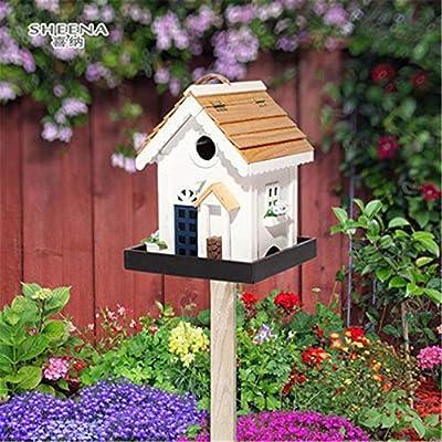 Casa de Madera para pájaros Cabañas Bird House Creativo Patio Jardín for cabañas de pájaros pequeños Decoración de pajareras Comedero for pájaros de madera al aire libre Alimentador de pájaros al aire: