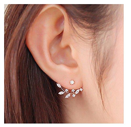 Elensan gold plated Leaf Earrings Zirconia Cz Leaf Ear Jacket Leaf Ear Cuff