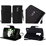 LG G Stylo (Boost Mobil LS770, T-Mobile LG H631 & MetroPCS LG MS631) / LG G Stylus LS770 (Sptint), LF 4 in 1 Bundle - Premium PU Leather Flip Wallet Credit Card Cover Case, Lf Stylus Pen, Screen Protector & Droid Wiper Accessory (Wallet Green)
