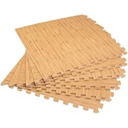 "Forest Floor 3/8"" Thick Printed Wood Grain Interlocking Foam Floor Mats, 24 Sq Ft (6 Tiles), Light Bamboo"