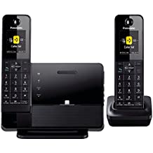 PANASONIC KXPRL262B DECT 6.0 1.9 GHz Link2Cell with iPhone5 Integration, Answering Machine, and 2 Handsets, Black