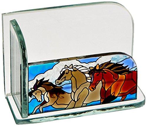 Stained Glass Cowboy - Joan Baker Designs Wild Horses Art Glass Business Card Holder