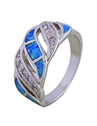 Dana 925 Silver Rings for Women Blue Opal Ring Silver Jewelry for Female Size 6 7 8 9 10 R599