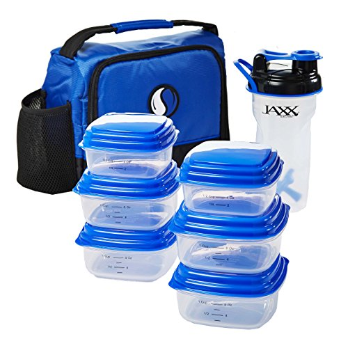 Fit & Fresh Men's Healthy Eating Meal Pack with Insulated Lunch Bag, 14-Piece Portion Control Container Set, 28 oz. Jaxx Active Shaker (Blue)