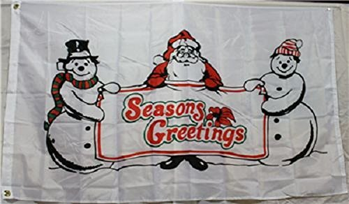 3x5 Merry Christmas Santa Claus with Snowman Seasons Greetings Flag 3'x5' (Seasons Greetings Snowman)