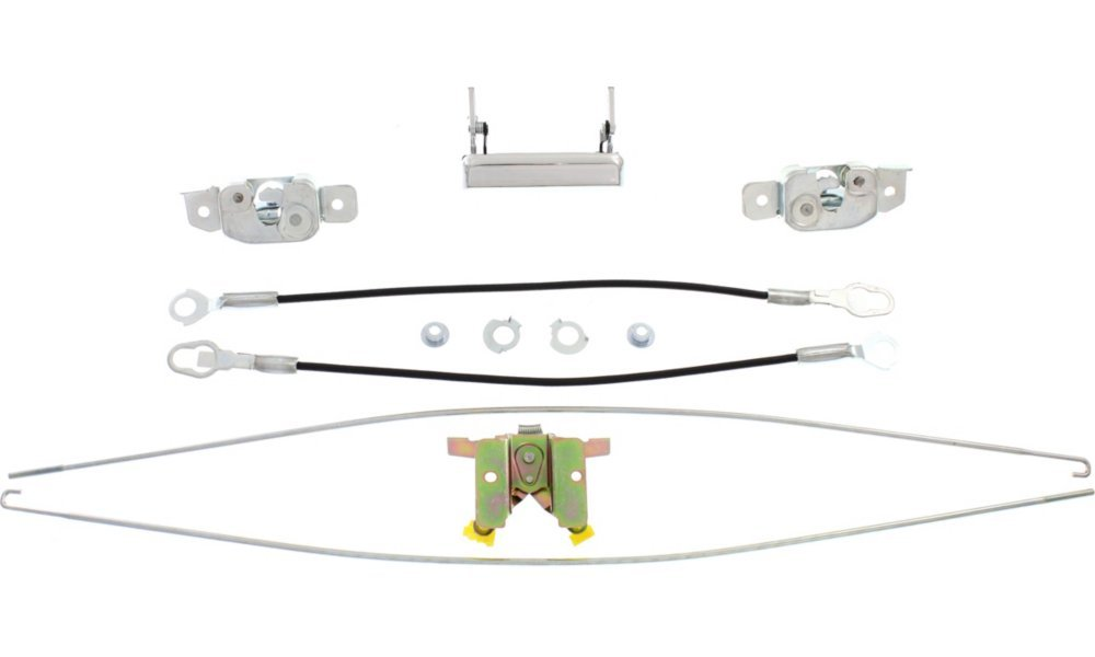 With Chrome Handle Styles 2Rod 2Cable 2Latch 1Hinge Tailgate Lock for Ford F-Series 87-96 Set