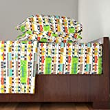 Roostery Kids Prints 4pc Sheet Set Trains Kids Travel Animal by Samossie 100% Cotton Sateen Queen Sheet Set