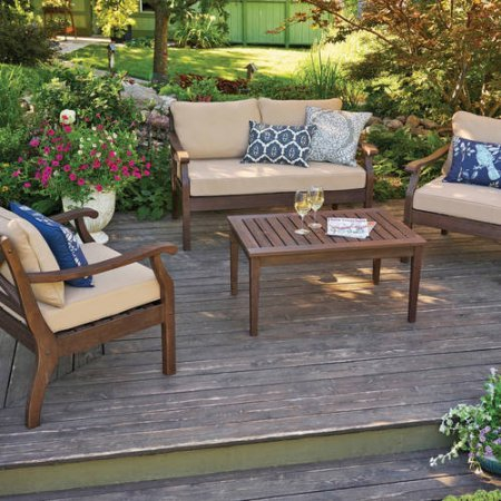 Better Homes and Gardens Cawood Place 4-Piece Conversation Set With Natural Olefin Cushions, Expresso Finish (Pallet Garden Table Furniture)