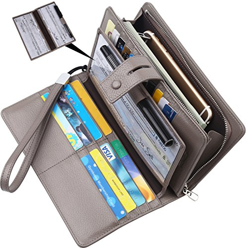 Lavemi Big Fat Rfid Blocking Leather Checkbook Credit Card Holder Wallets Clutch for Women with Wristlet Strap(Gray) (With Holder Wallet Checkbook)