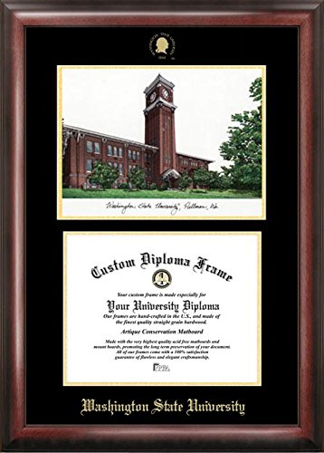 Campus Images WA996LGED Washington State University Embossed Diploma Frame with Lithograph Print, 11