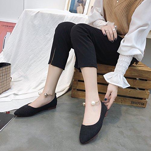 Zapatos Mujeres Zapatos Pedal Primavera Zapatos black Señaló El Solo Lazy Salvaje Planos KPHY La Y Verano Superficial Pearl Estudiantes EqBwntw6x