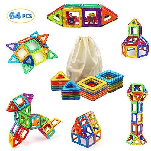 Harlerbo Magnetic Building Blocks 64 pcs Magnets Tiles Toy Stacking Blocks STEM Toys Set for kids