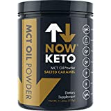 NOWKETO® KetoMCT™ Oil Powder from Coconuts | Low Carb High Fat | Medium Chain Triglyceride | Ketogenic Diet Supplement | Boosts Ketones for Keto Diet. Great Keto Coffee Creamer. (Salted Caramel)
