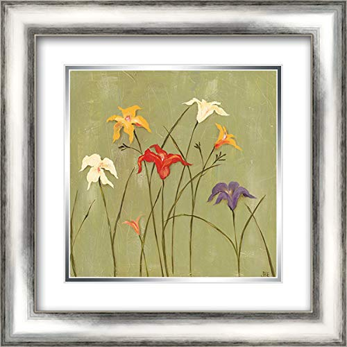 Jeweled Lilies I 20x20 Silver Contemporary Wood Framed and Double Matted Art Print by Reynolds, Jade