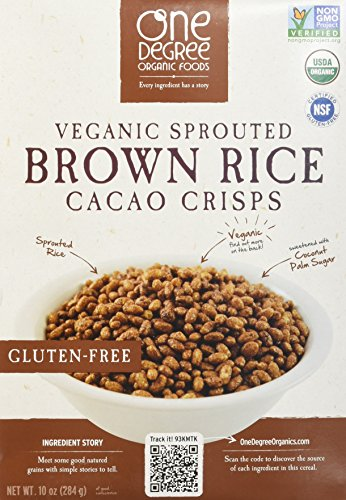 One Degree Organic Foods Sprouted Brown Rice Cacao Crisp, 10 Ounce - 6 per case. by One Degree Organic Foods