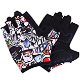 Kids Gloves Cycling Gloves for Children Adjustable Fingerless Gloves Half Finger Outdoor Gloves Breathable Riding Mitten Professional Gloves for Roller Blading,Roller Skating,Riding,Rock Climbing