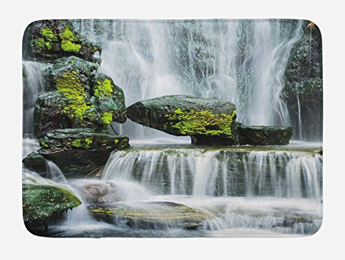 Ambesonne Waterfall Bath Mat, Majestic Waterfall Blocked with Massive Rocks with Moss on Them Photo, Plush Bathroom Decor Mat with Non Slip Backing, 29.5 W X 17.5 L Inches, Green Black and White