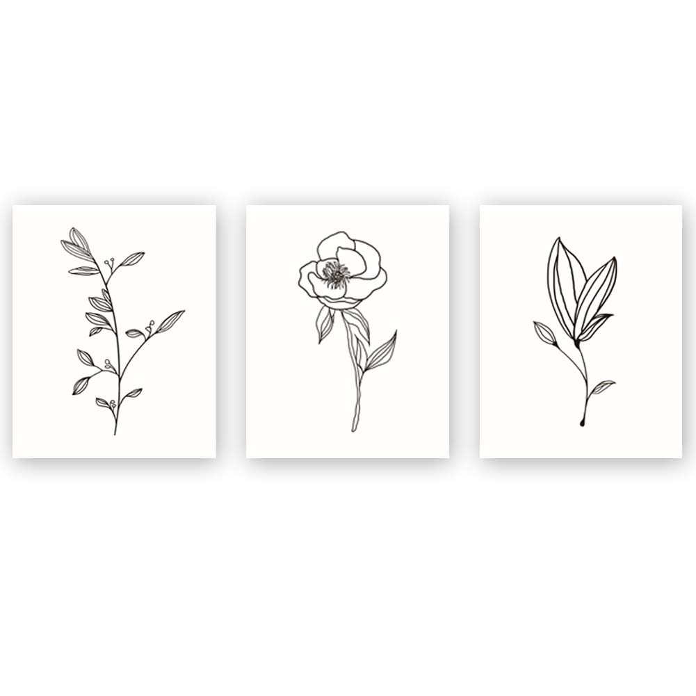 Unframed Abstract Flower Art Print Nordic Style Black&White Rose Leaf Art Wall Plant Painting, Set of 3(8''X10'') Canvas Poster for Modern Wall Decor,Housewarming Gift