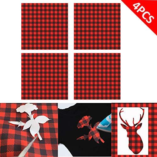 [해외]4 시트 버팔로 격자 무늬 열 전달 비닐 시트 30.48cm x 30.48cm 자체 접착 공예 프린트 비닐 시트 천 셔츠 및 DIY 공예용 / 4 Sheet Buffalo Plaid Heat Transfer Vinyl Sheet, 12 x 12Self Adhesive Craft Printed Vinyl Sheets Cloth for Shirt an...