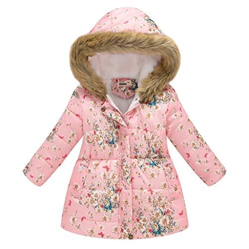 Binggong meisjes bloemen winterjas donsjas met bontcapuchon, bloemen warme gewatteerde jas windbreaker katoenen jas…