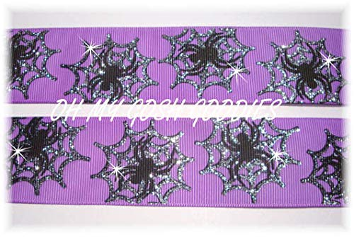 Ribbon Art Craft Perfect Solution for Any Project Decoration 1 Yard 1.5 Halloween Twinkle Glitter Silver Sparkle Spider Web Grosgrain Ribbon Purple