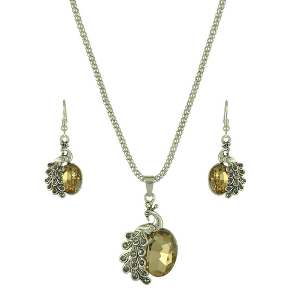 TREESTAR Pfau Diamant Kristall Halskette Ohrringe zweiteiliges Damen Hohl geschnitzt Anhänger Halskette Elegant Frau Schmuck Set (gelb)