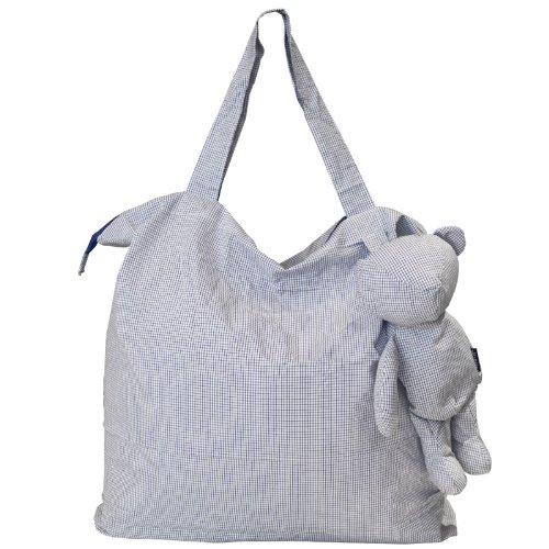 PERIGOT Dandy Einkaufstasche, Bären-Form, Baumwolle, groß (CUSP068), Blau kariert