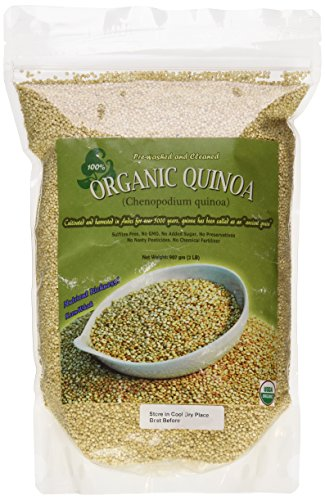 Indus Organics White Quinoa Seeds, 2 Lb Bag, 99% Purity, Pre-Washed, Premium Quality, Non-gmo, Freshly Packed