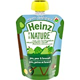 Heinz By Nature Organic Baby Food - Pea, Pear & Broccoli Purée - 128mL Pouch (Pack of 6)