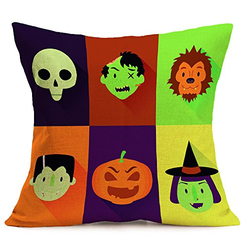 HomeMals Happy Pumpkin Spice Thanksgiving Throw Pillow Cover Cushion Case Cotton Linen Autumn Fall Halloween Home Decor -