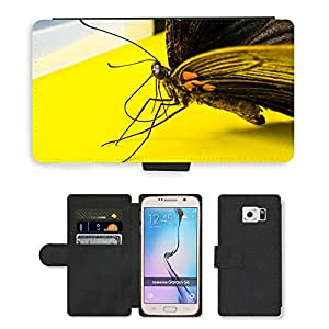 PU LEATHER case coque housse smartphone Flip bag Cover protection // M00134043 Insecto Mariposa // Samsung Galaxy S6 (Not Fits S6 EDGE)
